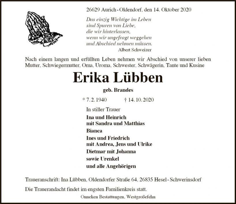 Erika Lübben † 14.10.2020 80 Jahre. Letzte Ruhestätte: Aurich-Oldendorf